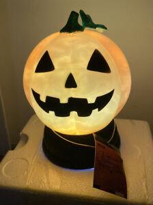 "Pumpkin HALLOWEEN Snow globe SWIRLING Jack-o-Lantern 7"" Lighted (KB) JOL SMOKE"