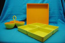 Dennis East Fall Halloween Yellow / Orange Chip N Dip Caddy Server Tray & Bowls