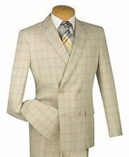 Men's Tan Windowpane Double Breasted 4 Button Slim-Fit Suit NEW