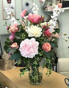 Artificial Flower Arrangement, Vintage Peony & Rose Display, Glass Vase