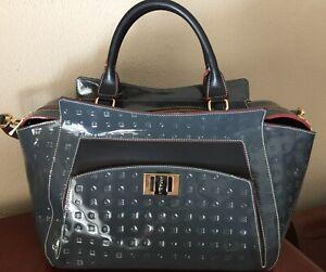 Beautiful Authentic Arcadia Italian Grey Blck Patent Leather Satchel Bag RV $598