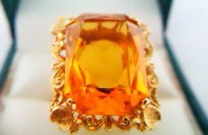 Beautiful Ornate Vintage 18ct Gold & Large Citrine Ladies Ring c1975  8.08 Grams