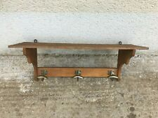 Antique french rustic coat hat rack wall mount 3 metal hooks shelf