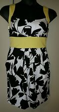 B Darlin Designer Sun Dress Black White Yellow Women's 13-14