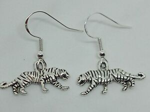 New Handcrafted 925 Silver Tiger Charm Drop Dangle Earrings Quirky Animal Boho