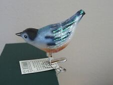 Nuthatch bird clip Old World Christmas glass ornament