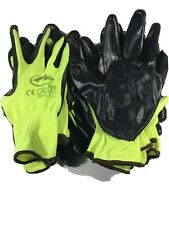 Work Gloves 10 Pair High Visibility Yellow  Free Shipping
