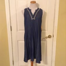 NWT Hope & Harlow Chambray Dress Sz 10 Tencel Denim Sleeveless Embroidered