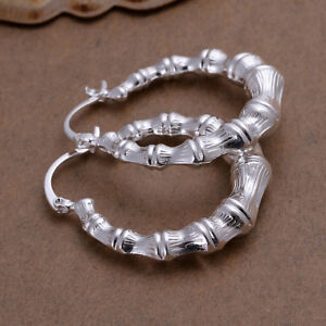 925 Stamped Sterling Silver Filled SF Pattern Hoop  Earrings E-A496