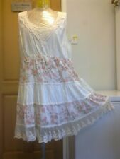 FROCK AND FRILL Cream Floral Cotton Embroidered Summer Dress - size 20 UK New !
