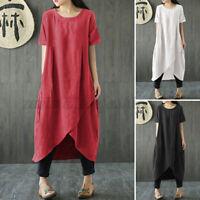 ZANZEA Women Summer Short Sleeve Long Midi Dress Asymmetrical Shirt Sundress US