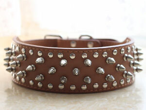 2'' Wide Brown Leather Spikes Studded Pet Dog Collars for Pitbull Terrier Boxer