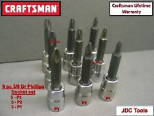 "1 Phillips Bit Socket 6-Point USA 44369 NEW CRAFTSMAN 3//8/"" Drive Impact No"