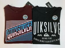 "New, Lot of 2, Quiksilver Men's ""2-Toned Stripes"" T-Shirts, Small, Slim Fit"