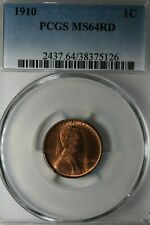 1910   1C   PCGS     MS 64 RD          Lincoln Head Cent, Lincoln One Cent