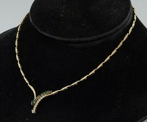 Vintage heavy 14K gold elegant .78CTW diamond & emerald formal pendant necklace