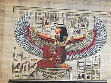 Ancient Egyptian Winged Goddess Isis Papyrus Painting Egypt Gift collectible...