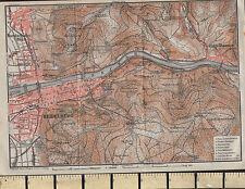 1925 GERMAN MAP ~ HEIDELBERG NECKAR KONIGSTUHL GEISBERG NEUENHEIM