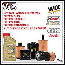 KIT TAGLIANDO 4 FILTRI WIX + 5 LT DI OLIO CASTROL EDGE 5W30 PER AUDI A3 2.0 TDI