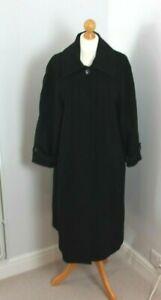 Vintage House Of Fraser Black Wool Cashmere Blend Full Length Coat Sz 10 Petite