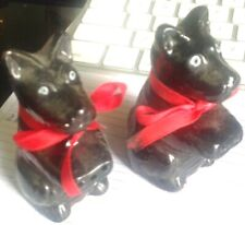 Salt & Pepper Shaker Set VINTAGE Scottish Terriers Christmas Holiday
