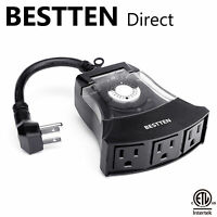 BESTTEN Outdoor 24-Hour Outlet Timer w/ 3 Outlets & 6-Inch Heavy Duty Cord ETL