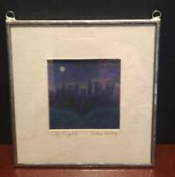 Uniquely Framed Miller Roberg's  City Lights Original Artist Framed Watercolor