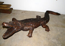 "113""L Real Bronze Crocodile Alligator Water Fountain Pool Sculpture Lifesize"