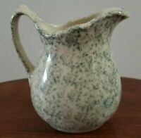 """Hartstone Pottery Small 4 1/2"""" Green Speckled Pitcher!"""