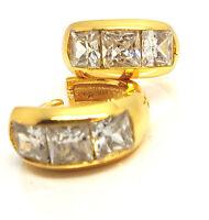 Men Women Square CZ Clear Crystals Round Hoop Huggie Earrings 18K Gold