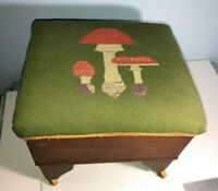 Antique Retro Vintage Wood Footstool Needlepoint Mushrooms w/ wheels Make Offer!