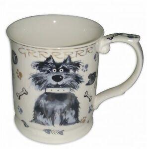 Dog Mug - Scruffy Mutt Cute Design Gold Edged Fine China Mug - Boxed