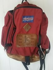 Jansport Vintage Back pack USA Leather Bottom Red Hiking Made in USA