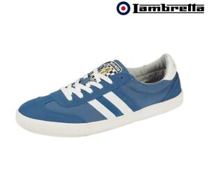 Lambretta Canvas MOD Trainers Blue Mens Lace Up Memory Foam Shoes UK 7 - 12