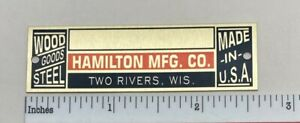 Hamilton Manufacturing Drafting Table Metal Identification Badge - Reproduction