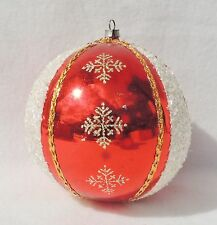 JUMBO Vtg Gold Wire Braid Glitter Mica on Red Mercury Glass Xmas Ornament #1514