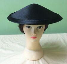 40s 50s Vintage Hat Black Satin Coolie Hat. Dior Style.