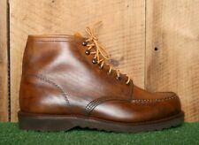 Vintage Sears Brown Leather Moc Toe Ankle Work Chukka Boots Men's Sz. 8.5 Ee