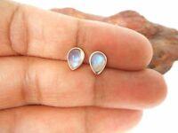 Pear  Shaped  MOONSTONE  Sterling  Silver  925 Gemstone STUD Earrings - 5 x 7 mm