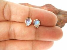 Pear  Shaped  MOONSTONE  Sterling  Silver  925 Gemstone STUD Earrings - 5 x 7 mm