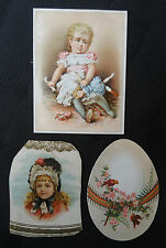 Lot 3 Antique Ad Trade Cards - Woodruff & Son (New York) - Woolson - Girl & Doll