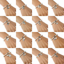 Fashion Tibetan Silver Bell Charm Beads Ball Stretch Bangle Bracelet for Women