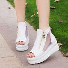 Summer Women Peep Toe Platform Sandals Gladiator High Heel Zip Ankle Mesh Shoes