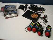 Black Sony PlayStation 2 PS2 slim console for parts with lot 9 games controller