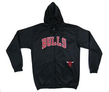 Chicago Bulls Majestic Black Red Sewn Hooded Basketball Track Jacket XLT Tall