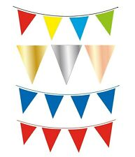 10m Solid Colour Flag Banner - 20 Flags Triangle Bunting 20cm x 30cm Waterproof