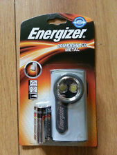BRAND NEW ENERGIZER COMPACT METAL LED TORCH WITH 3 AA BATTERIES 632265 SILVER