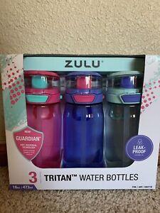 Zulu Leakproof TRITAN WATER BOTTLES SET OF 3 New In Box 16oz