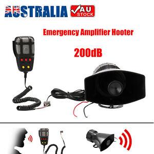 12V 200dB Air Horn Siren Megaphone Loud Car Emergency Siren + MIC Speaker AU