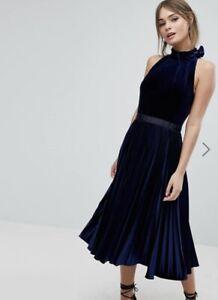 Ted Baker Cornela Pleated Velvet Midi Dress BLACK RRP £229 Size 5 UK 16